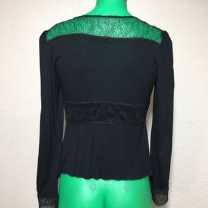 Free People Tops - Free People Black Lace Victorian Style Blouse Med